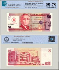 Philippines 50 Piso Banknote, 2012, P-211A, UNC, TAP 60-70 Authenticated