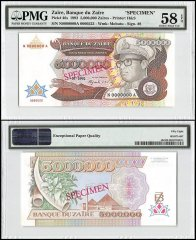 Zaire 5 Million Zaires, 1992, P-46s, Specimen, PMG 58