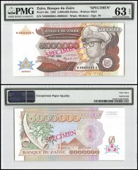 Zaire 5 Million Zaires, 1992, P-46s, Specimen, PMG 63