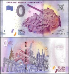 Zero Euro Europe Banknote, 2017, 1st Print, UNC, Overlord Museum-Omaha Beach, France