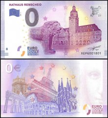 Zero Euro Europe Banknote, 2017, 1st Print, UNC, Rathaus Remscheid in Germany