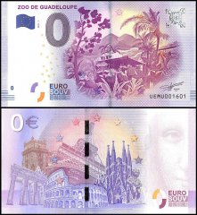 Zero Euro Europe Banknote, 2017, 1st Print, UNC, Zoo De Guadeloupe in France