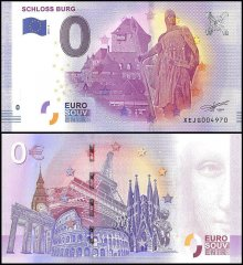 Zero Euro Europe Banknote, 2017, 2nd Print, UNC, Schloss Burg in Germany