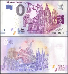 Zero Euro Europe Banknote, 2017, 3rd Print, UNC, Koln Am Rhein in Germany