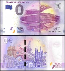 Zero Euro Europe Banknote, 2017, 3rd Print, UNC, Orange Velodrome 80 Ans in France