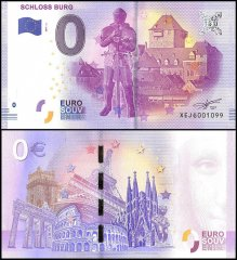 Zero Euro Europe Banknote, 2017, 3rd Print, UNC, Schloss Burg in Germany