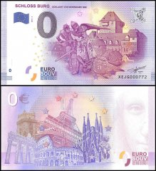 Zero Euro Europe Banknote, 2017, 4th Print, UNC, Schloss Burg Schlacht in Germany