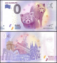 Zero Euro Europe Banknote, 2017, 4th Print, UNC, Zoo Duisburg, Germany