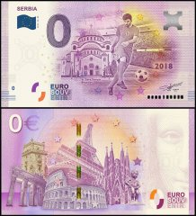 Zero Euro Europe Banknote, 2018-30RS - 30th Print UNC, Serbia, St. Sava, FIFA World Cup