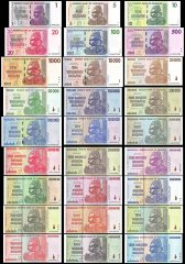 Zimbabwe 1 - 100 Trillion Series Dollars 27 Piece Full Set, 2007-2008, P-65-91, UNC