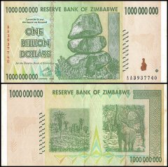 Zimbabwe 1 Billion Dollars Banknote, 2008, P-83, Used