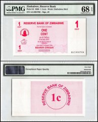 Zimbabwe 1 Cent Bearer Cheque, 2006, P-33, PMG 68
