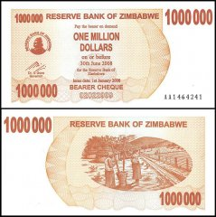 Zimbabwe 1 Million Dollars Bearer Cheque, 2008, P-53, UNC