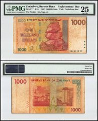 Zimbabwe 1,000 Dollars, 2007, P-71, Replacement/Star, PMG 25
