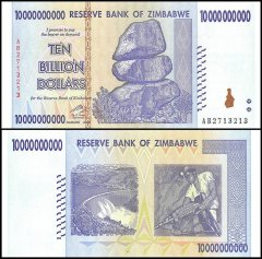 Zimbabwe 10 Billion Dollars Banknote, 2008, P-85, UNC