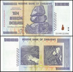 Zimbabwe 10 Billion Dollars Banknote, 2008, P-85, Used, Replacement