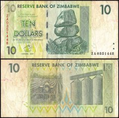 Zimbabwe 10 Dollars Banknote, 2007, P-67, Used, Replacement