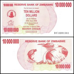 Zimbabwe 10 Million Dollars Bearer Cheque, 2008, P-55, UNC