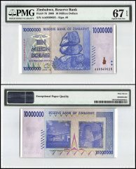 Zimbabwe 10 Million Dollars, 2008, P-78, PMG 67