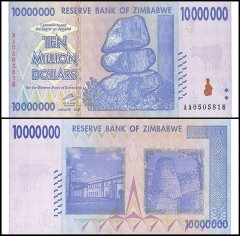 Zimbabwe 10 Million Dollars Banknote, 2008, P-78, UNC