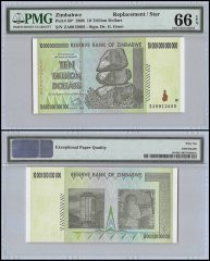 Zimbabwe 10 Trillion Dollars, 2008, P-88, Replacement/Star, PMG 66