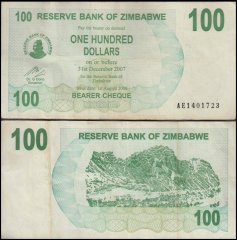 Zimbabwe 100 Dollars Bearer Cheque, 2006, P-42, Used