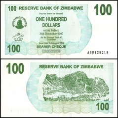 Zimbabwe 100 Dollars Banknote, 2007, P-69, Used, Radar Serial # 8128218