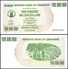 Zimbabwe 100 Million Dollars Bearer Cheque, 2008, P-58, UNC