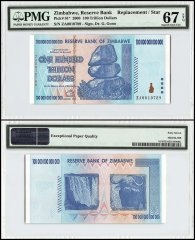 Zimbabwe 100 Trillion Dollars, 2008, P-91, Replacement/Star, PMG 67