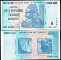 Zimbabwe 100 Trillion Dollars Banknote, 2008, P-91, UNC, Replacement