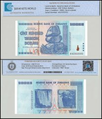 Zimbabwe 100 Trillion Dollars Banknote, 2008, P-91, UNC, TAP Authenticated