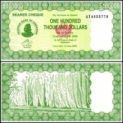 Zimbabwe 100,000 Dollars Bearer Cheque, 2006, P-32, 50 & 100 Trillion Series, UNC