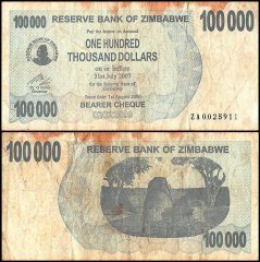 Zimbabwe 100,000 Dollars Banknote, 2006, P-48b, Used, Replacement