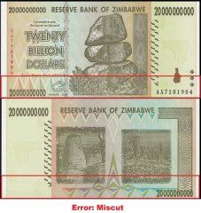 Zimbabwe 20 Billion Dollars Banknote, 2008, P-86, UNC, Error, Miscut