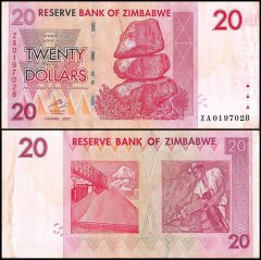 Zimbabwe 20 Dollars Banknote, 2007, P-68, Used, Replacement