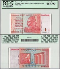 Zimbabwe 20 Trillion Dollars, 2008, P-89, Replacement, Low Serial #, PCGS 66