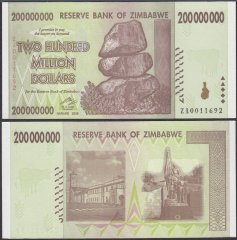 Zimbabwe 200 Million Dollars Banknote, 2008, P-81, UNC, Replacement