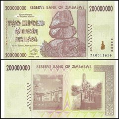 Zimbabwe 200 Million Dollars Banknote, 2008, P-81, Used, Replacement