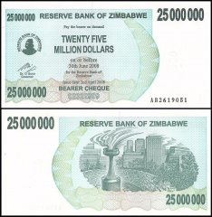 Zimbabwe 25 Million Dollars Bearer Cheque Banknote, 2008, P-56, UNC