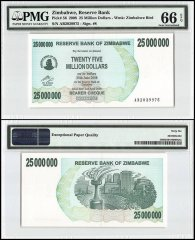 Zimbabwe 25 Million Dollars Bearer Cheque, 2008, P-56, PMG 66
