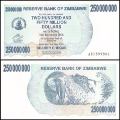 Zimbabwe 250 Million Dollars Bearer Cheque Banknote, 2008, P-59, UNC
