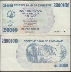 Zimbabwe 250 Million Dollars Bearer Cheque, 2008, P-59, Used