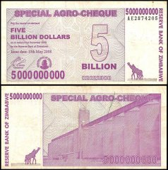 Zimbabwe 5 Billion Dollars Special Agro Cheque, 2008, P-61, Used
