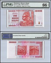 Zimbabwe 5 Billion Dollars, 2008, P-84, PMG 66