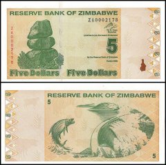 Zimbabwe 5 Dollars Banknote, 2009, P-93, UNC, Replacement