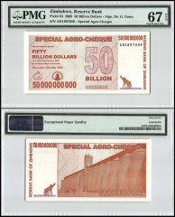 Zimbabwe 50 Billion Dollars Special Agro Cheque, 2008, P-63, PMG 67