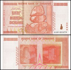 Zimbabwe 50 Billion Dollars Banknote, AA/2008, P-87, UNC