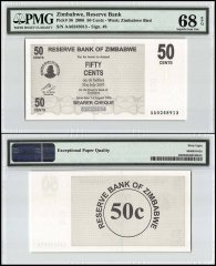 Zimbabwe 50 Cent Bearer Cheque, 2006, P-36, PMG 68