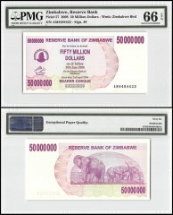 Zimbabwe 50 Million Dollars Bearer Cheque , 2008, P-57, PMG 66