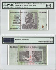 Zimbabwe 50 Trillion Dollars, 2008, P-90, Replacement/Star, PMG 66